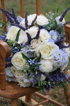 Ciana-- hydrangea, white garden roses, spray roses,white ranuculas, delphinium, fresh lavender, blue tweedia, and dusty miller Bridal Bouquet - Splendid Stems Floral Designs
