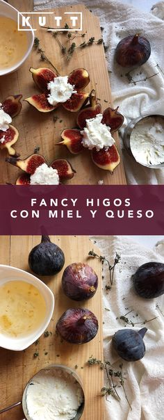 Figs with goat cheese and honey - Higos con miel y queso Figs Goat Cheese Honey, Fancy, European Countries, Queso, Tapas, Deserts, Healthy Recipes, Homemade, Dinner