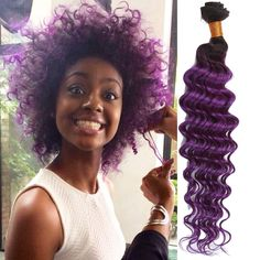 Stylish 50g/pc Human Hair Extension Deep Wave Purple Ombre Wefts Haar Weaves #WIGISS #HairExtension