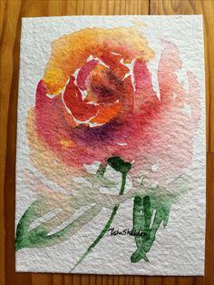 Watercolor Rose on 140lb Shizen watercolor paper by Tisha Sheldon