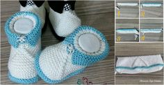 Şiş İşi Kolay Bebek Patiği Tarifi Easy to use skewers for those who want to make baby shoes. For newborn babies, you can make very beautiful knitted booties with a swollen job. Gestrickte Booties, Knitted Booties, Baby Booties, Crochet Baby Shoes, Crochet Slippers, Baby Knitting Patterns, Baby Toys, Shoe Recipe, Baby Kind