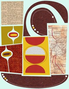 Mid Century snips turned into collage  by Jenn Ski.  Find her on Etsy.