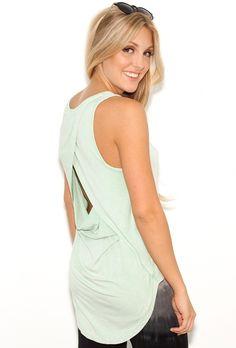 #Women's #Fashion #Clothing:  West Coast Wardrobe That's a Wrap Open Back #Tank #Top in #Mint #Green