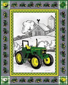 Cheater John Deere Tractor Quilt Top Panel