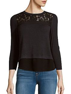 Rebecca Taylor Jewelneck Lace Yoke Top - I actually own this top.  This is a good fit and style for me.