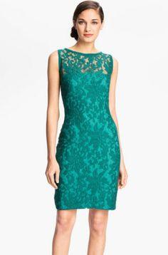 Tadashi Shoji Illusion Yoke Crochet Lace Sheath Dress in Aqua Green