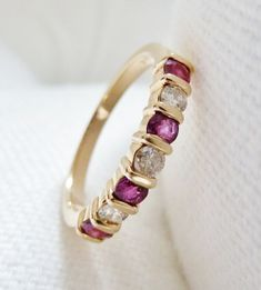 Ruby and Diamond Ring 14K Gold - Anniversary Band