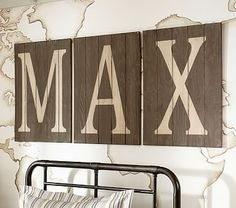Wood Planked Letters #pbkids Frames above bb bed... gene baby photo
