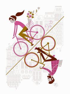 Uphill Downhill Artcrank Poster 18 x 24 2nd by AlbertandMarie
