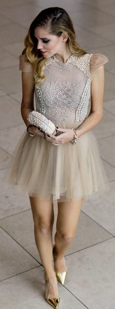 Embellished and Tulle Skirt Dress with Gold Shoes