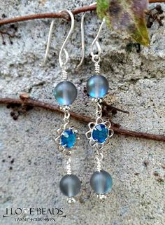 blue glowing czech glass dangle earrings-blue glowing earrings-glass labradorite earrings-dangle earrings-blue dangles-blue earrings