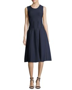 Sleeveless Fit & Flare Dress with Piping