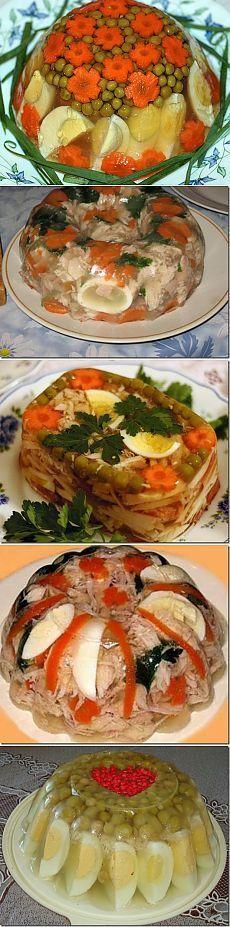 Ukusno i lijepo- hladetina s piletinom, povrcem, jajima. Good Food, Yummy Food, Food Displays, Cooking Recipes, Healthy Recipes, Food Decoration, Russian Recipes, Vintage Recipes, Soup And Salad