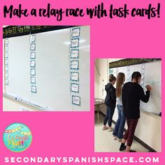 One of SEVEN fun ideas for using task cards to increase engagement and understanding in the classroom! Th One of SEVEN fun ideas for using task cards to increase engagement and understanding in the classroom! These work for ANY content area! Spanish Teacher, Teaching Spanish, Teaching Math, Teaching French, Teaching Ideas, Classroom Games, Classroom Ideas, Spanish Classroom Decor, High School Classroom