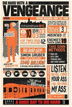 Die Hard Infographics 3- Example of a very busy design almost to much info going on not sure where yours eyes should look