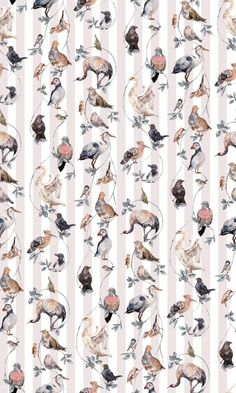 Flights of Fancy Rose Stripe (H209-4) - House Of Hackney Wallpapers - A symphony of exquisitely drawn Birds roosting on a leaf trail, set on a pale pink and white stripe background. .  Available in several colourways. Please ignore dimensions below – the actual dimensions of this stunning digital wallpaper are: W180cm x H 300cm. The single roll comprises of 4 x 3m lengths, each 45cm wide. Wall coverage per roll is 5.4 m2 Paste the wall product.