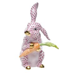 """Herend Hand Painted Porcelain Figurine """"Large Bunny w Carrot"""" Raspberry Fishnet Gold Accents."""