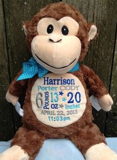 Monogrammed Baby Gift Monkey Birth Announcement by WorldClassEmbroidery on Etsy, $37.99