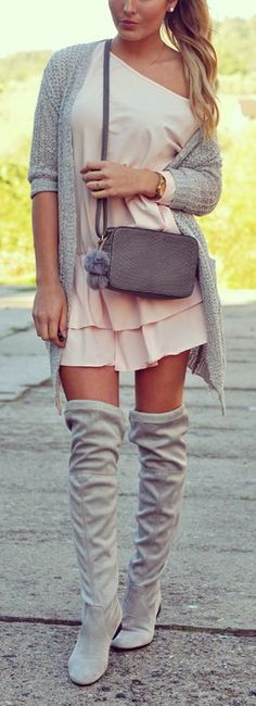 Blush + Grey Fall Outfit