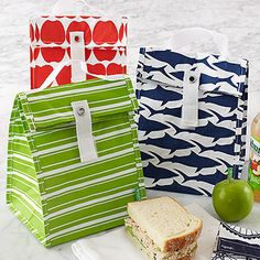 Reusable Lunch Totes made from recycled materials - foodsafe, BPA free and dishwasher safe - great for school lunches!