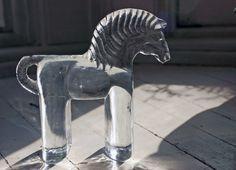 Vintage Kosta Boda Flatback Zoo Series Art Glass Horse by Bertil Vallien