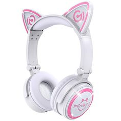 MindKoo Unicat Kids Headphones,Cat Ear Bluetooth Headsets On-Ear Earphones wtih Mic,(Patented Exclusive Design) with LED Flashing Glowing Cosplay Fancy Foldable Gaming Headsets – White Wireless Cat Ear Headphones, Cat Ear Headset, On Ear Earphones, Wireless Bluetooth, White Headphones, Gaming Headphones, Sports Headphones, Best Gaming Headset, Kit Main Libre