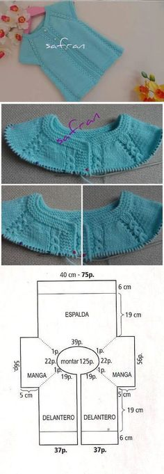 Children's blouse with knitted needles