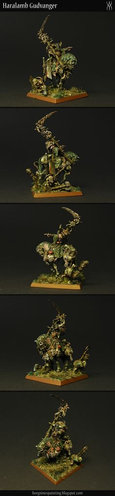Borgnine's Painting Blog *  *  * A mutated mounted necromancer / crazy fleshcrafter - miniature painted for Vampire Counts, Warhammer Fantasy Battle, or Age of Sigmar if need be. Model used - Nurgle Lord on a Demonic Mount, made by Games Workshop - but in AoS he's called Harbinger of Decay, from the Nurgle Rotbringers faction, Grand Alliance Chaos. Two little merry helpers are gnoblar models with ghoul heads.