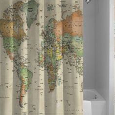 Hot New Vintage World Map Custom Design Shower Curtain