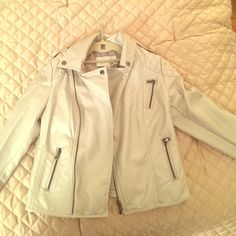 Bar III silver faux leather jacket S Bar III silver jacket, size S. Zip up, 2 side pockets with zipper, left chest pocket with zipper, quilted sleeves with zipper detail. 100% viscose shell, 100% polyester lining Bar III Jackets & Coats Utility Jackets