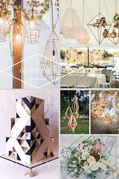 2017 Wedding Trends - Geometric shapes and suspended lights. #2017weddingtrend #weddingtrend #geometricwedding #wedding-decor