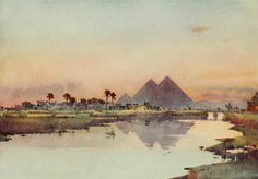 Cane, Ella du (1874-1943) - The Banks of the Nile 1913, The second pyramid at Giza. #nile, #egypt, #africa