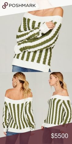 Striped Off The Shoulder Sweater Green and white chunky knit striped sweater Sweaters Crew & Scoop Necks