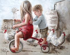 """""""Taxi"""" by Maria Oosthuizen Paintings I Love, Beautiful Paintings, Watercolor Paintings, Pictures To Paint, Art Pictures, Painting For Kids, Art For Kids, Angel Pictures, Cycling Art"""