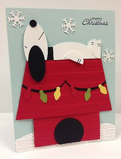 Snoopy Christmas Punch Art Stampin' Up! Card Kit (5 cards)