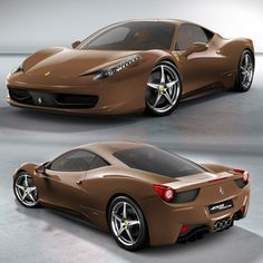 Ferrari 458 Italia; The new acceptable color for a sports car.... Red, Black, Yellow, OR Brown. Effing gorgeous!