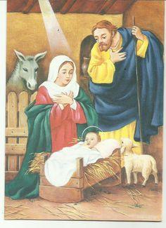 Escena del Nacimiento del Niño Dios en tarjeta de tarjecolsa de Simón Elvín