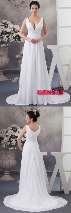 Only $164.9, Wedding Dresses A-line V-neck Sweep Train Chiffon Wedding Dress With Beading #OP4789 at #GemGrace. View more special Wedding Dresses,Beach Wedding Dresses,Simple Wedding Dresses now? GemGrace is a solution for those who want to buy delicate gowns with affordable prices. Free shipping, 2018 new arrivals, shop now to get $10 off!