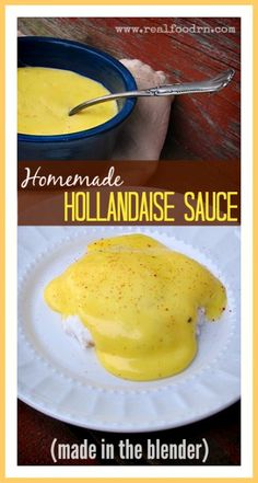 Homemade Hollandaise Sauce in the Blender. A super quick and easy way to make this creamy and delicious sauce. It's also full of healthy fats! Enjoy on top of eggs, crepes, asparagus, or anything you like. realfoodrn.com #hollandaise #blender
