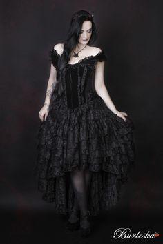 Athena front zip overbust corset in black velvet flock