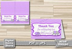 Printable Baby Shower Thank You Card Purple - Printable Thank You Card Elephant - Elephant Thank You Card - Purple Card - Instant Download by DigitalitemsShop on Etsy