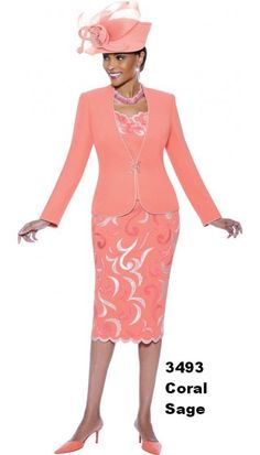 Beautiful Coral Church Suit 3493 By Susanna