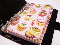 Filofax Personal Tasche Kalender Stiftetasche Zubehörtasche Rosa Cupcakes