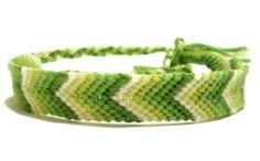 Gradient Green Chevron Pattern Embroidery friendship bracelet by BraceletsByJen
