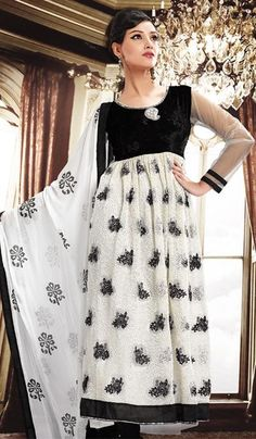 White Black Faux Georgette Embroidered Designer Dress Material    Product Code : G3-LDM201881  Price : INR RS 3184