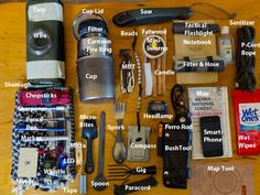 Most of what's in a good Bushcraft EDC. I don't know about the smartphone, or why you need three different spoons, but I like it. Add a blanket/bivvy and a first aid kit, and you're good to head out for some wilderness fun.