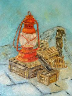 Nautical Still Life Oil Painting Nautical, Lantern artwork Sea Ocean, Netting Dock, Oyster Traps, h Nautical Lanterns, Fisherman's Friends, Still Life Oil Painting, Sea And Ocean, Vintage Paper, Sea Shells, I Shop, Hand Painted, Black And White