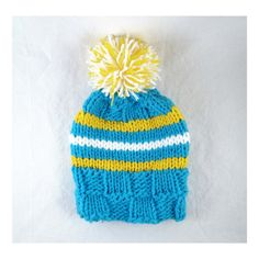 Hand Knit Striped Hat in Turquoise Blue, Bright Yellow and White with Pompom, For Adults, Teens and Children. Pom Pom is Removeable