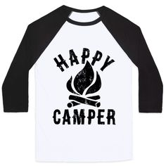"""This cute vintage-inspired camping shirt features a crackling camp fire and the words """"happy camper"""" and is perfect for exploring the great outdoors, climbing trees, visiting national parks, camping, pitching tents, starting camp fires, roasting marshmallows, making s'mores, hiking, rock climbing, or just sitting at school or work wishing you were outside!"""