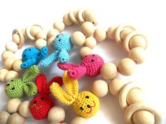 Organic Teething toy Crochet teether Wooden beads rattle Natural teether Wooden teething toy with rabbits head Easter gift